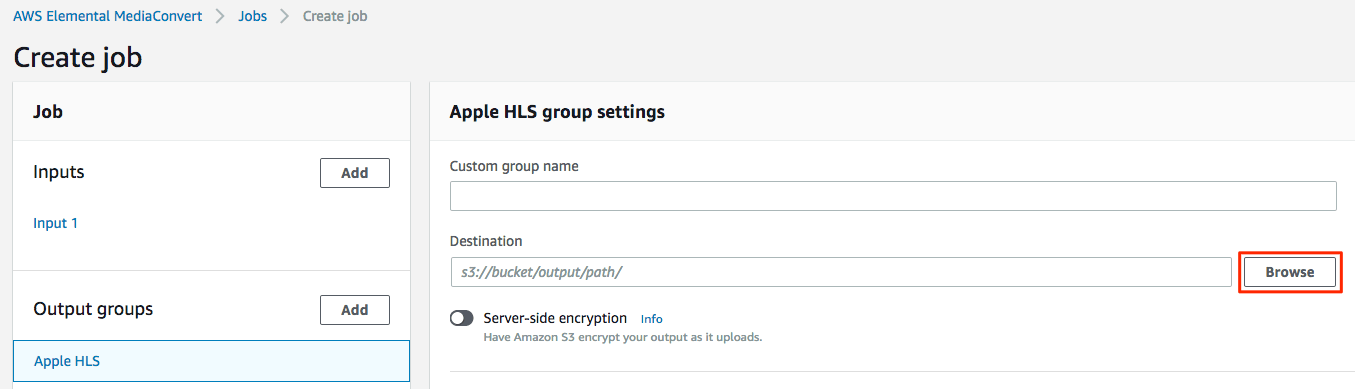 Select Browse, under Apple HLS group settings.