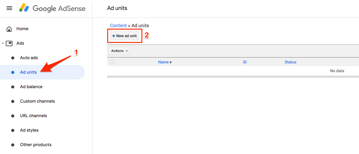 Navigate to Ad Units, and +New ad unit.