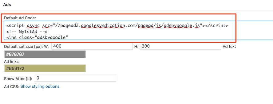 Where to paste the ad code.