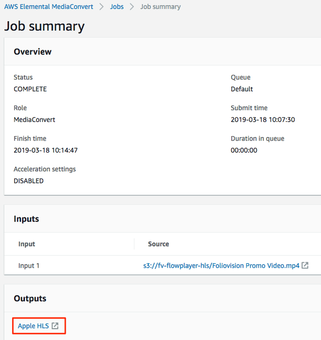 Job Summary screen, with link to output folder.