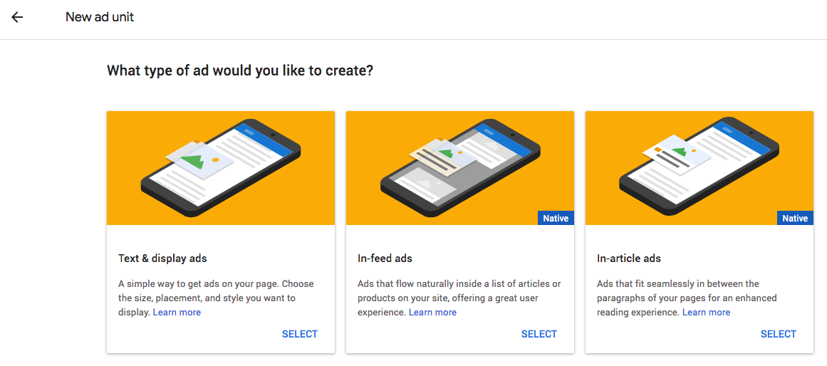 Select what type of ad you want to create.
