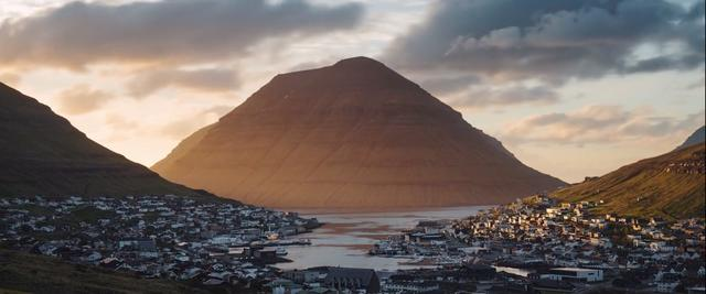 Sunset in the valley of the Faroe Islands