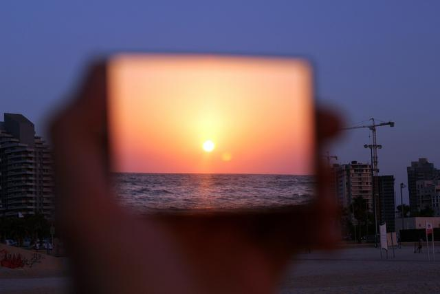 sunset reflection in a mirror
