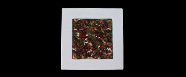 A Hare In the Woods dish served on a white square plate in front of a black background