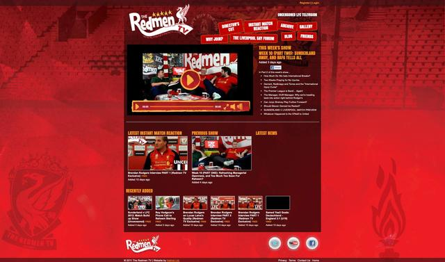 The Redmen TV original cutsom website from 2012