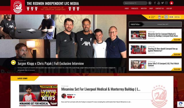 The Redmen TV website in 2019
