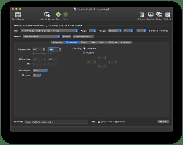 Handbrake resolution settings for MP4.