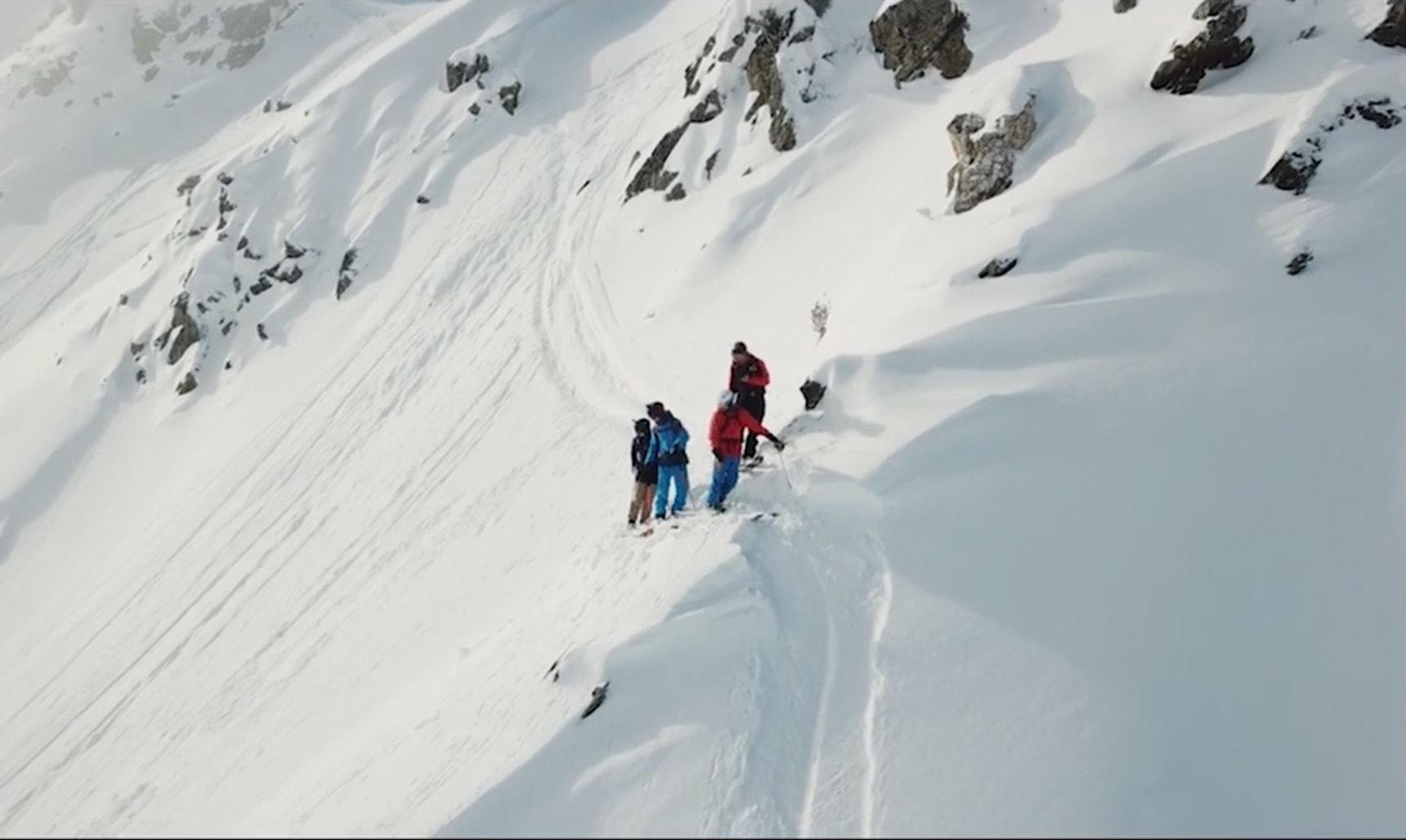Peter Nilsson, Olle Regnér, Emelie Eriksson on a mountain peak in Swiss Alps