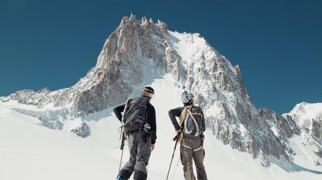 Free skiers under the peak of Chamonix, France