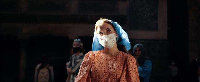 Ekaterina Milaeva in a mask