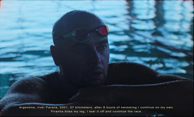 Rostislav Vítek in a swimming pool
